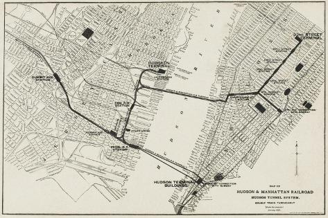 Map of the Hudson and Manhattan Railroad Subway System in New York, America--Stretched Canvas Print