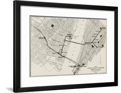 Map of the Hudson and Manhattan Railroad Subway System in New York, America--Framed Art Print