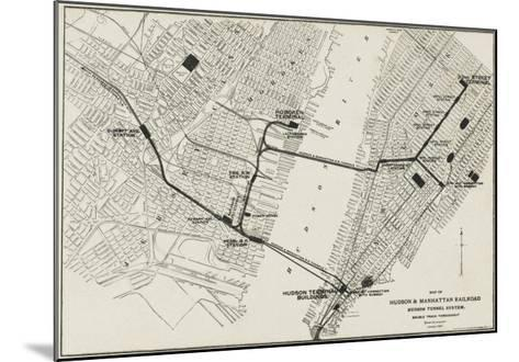 Map of the Hudson and Manhattan Railroad Subway System in New York, America--Mounted Giclee Print