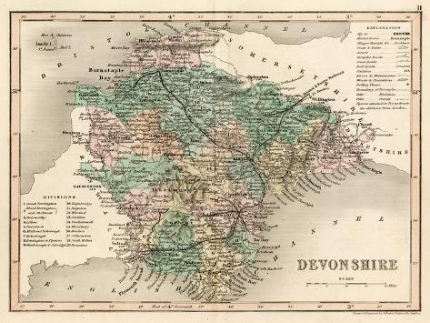 Map of Devon--Stretched Canvas Print