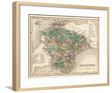 Map of Devon--Framed Art Print