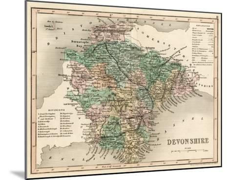 Map of Devon--Mounted Giclee Print