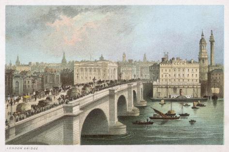 London Bridge 1850--Stretched Canvas Print
