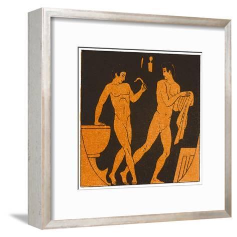 Men Bathing in Ancient Greece--Framed Art Print
