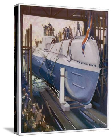 Launching a Submarine--Stretched Canvas Print