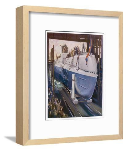 Launching a Submarine--Framed Art Print