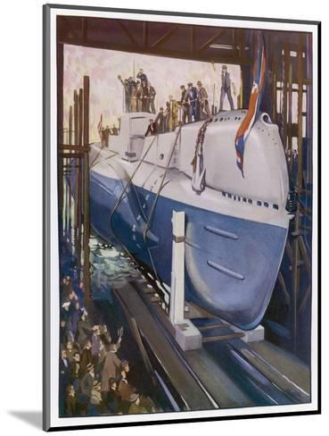 Launching a Submarine--Mounted Giclee Print