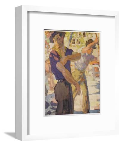 Men Working on Water--Framed Art Print