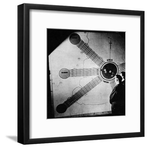 Map at the Berlin Air Safety Centre--Framed Art Print