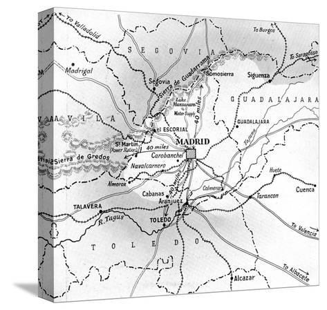 Map Showing the Nationalist Advance on Madrid, October 1936--Stretched Canvas Print