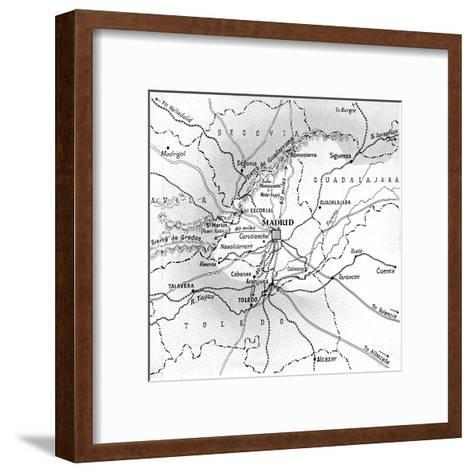 Map Showing the Nationalist Advance on Madrid, October 1936--Framed Art Print