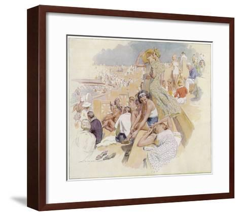 Le Touquet: Sunbathers by the Swimming Pool--Framed Art Print