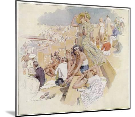 Le Touquet: Sunbathers by the Swimming Pool--Mounted Giclee Print