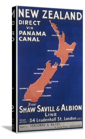 New Zealand Travel Poster--Stretched Canvas Print