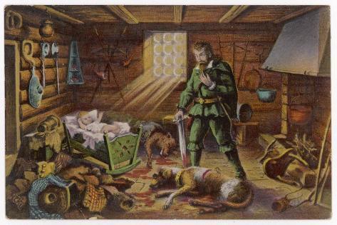 Gelert, Dog of Prince Llywelyn, Kills a Wolf--Stretched Canvas Print
