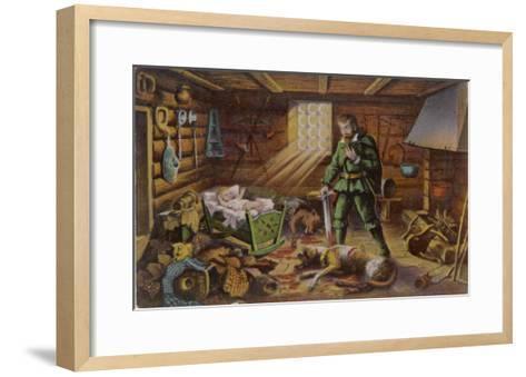 Gelert, Dog of Prince Llywelyn, Kills a Wolf--Framed Art Print