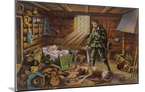 Gelert, Dog of Prince Llywelyn, Kills a Wolf--Mounted Giclee Print
