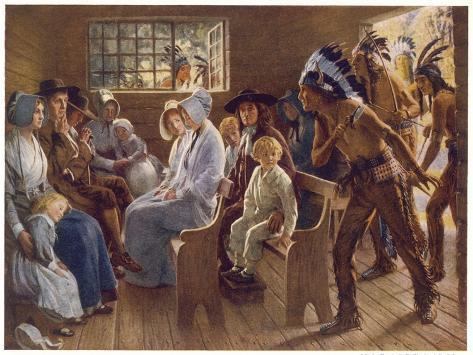 Native Americans Interrupt a Puritan Church Service--Stretched Canvas Print