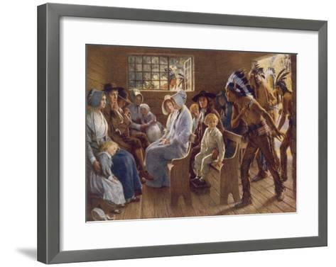 Native Americans Interrupt a Puritan Church Service--Framed Art Print