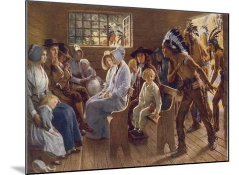 Native Americans Interrupt a Puritan Church Service--Mounted Giclee Print