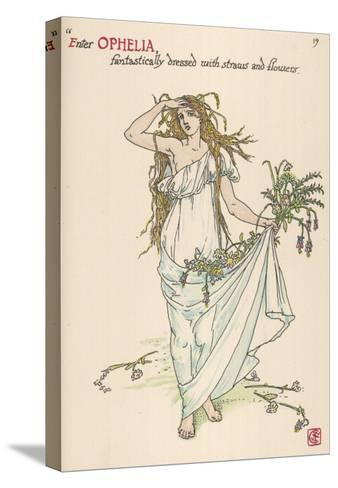 Ophelia Goes Mad, Hands Out Wild Flowers--Stretched Canvas Print