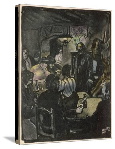 People in a Bohemian Cafe, Le Lapin Agile, Paris--Stretched Canvas Print