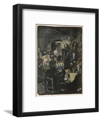 People in a Bohemian Cafe, Le Lapin Agile, Paris--Framed Art Print