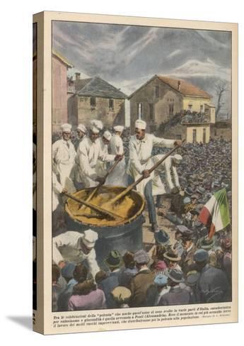 Pasta, The Annual 'Festa Di Polenta' at Ponti, Italy--Stretched Canvas Print