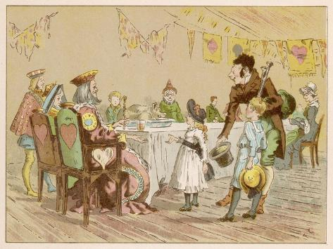 Nursery Rhyme Heroes at a Table--Stretched Canvas Print