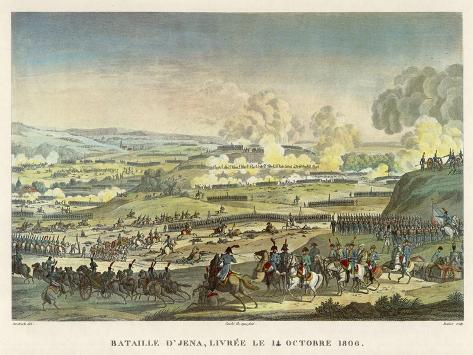 Napoleon Defeats the Prussians under Hohenloe at Jena--Stretched Canvas Print