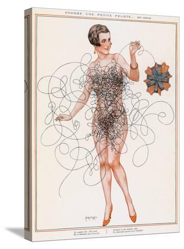 Naked Lady Gets into a Tangle with Some Thread--Stretched Canvas Print