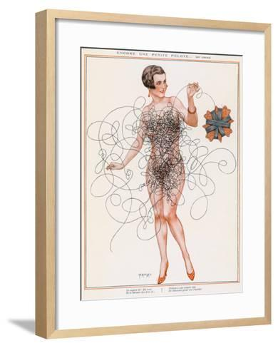 Naked Lady Gets into a Tangle with Some Thread--Framed Art Print