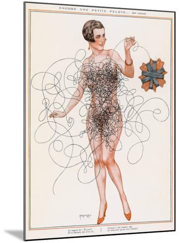 Naked Lady Gets into a Tangle with Some Thread--Mounted Giclee Print
