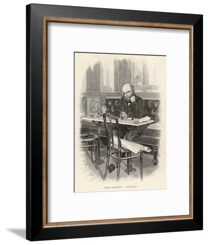 Paul Verlaine French Writer Writing at a Cafe Table--Framed Art Print