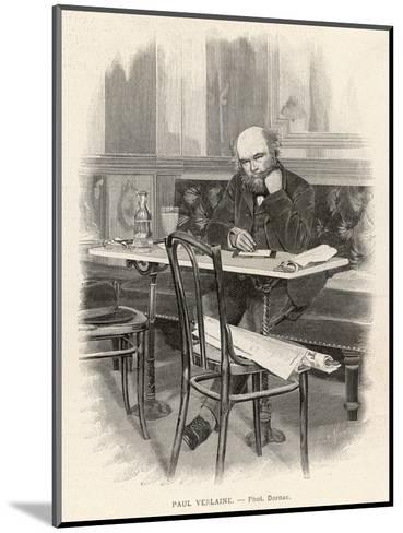 Paul Verlaine French Writer Writing at a Cafe Table--Mounted Giclee Print