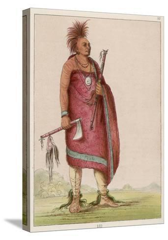 Osage Chief Carrying a Pipe and a Tomahawk--Stretched Canvas Print