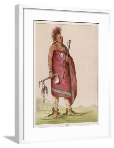 Osage Chief Carrying a Pipe and a Tomahawk--Framed Art Print