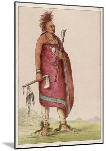 Osage Chief Carrying a Pipe and a Tomahawk--Mounted Giclee Print