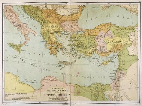 Part of the Roman Empire, Showing St Paul's Journeys--Stretched Canvas Print