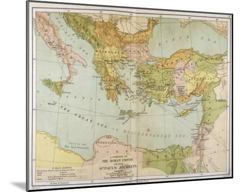 Part of the Roman Empire, Showing St Paul's Journeys--Mounted Giclee Print