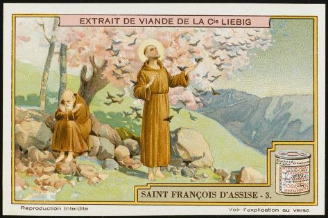 Saint Francis of Assisi - Preaching to the Birds--Stretched Canvas Print