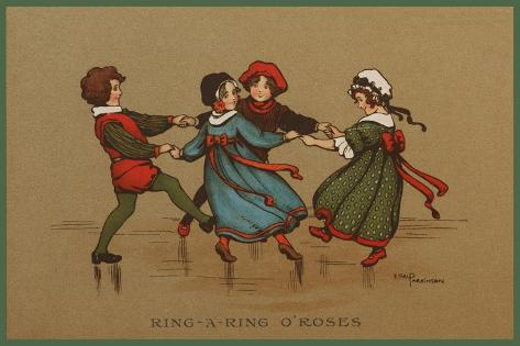Some Children in Varied Costumes Play Ring-A-Ring O'Roses--Stretched Canvas Print