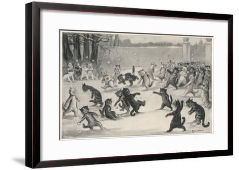 Snowballing by Louis Wain--Framed Art Print