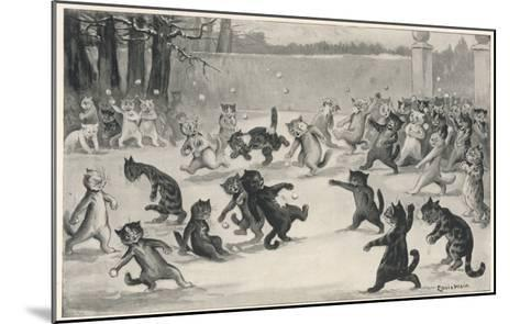 Snowballing by Louis Wain--Mounted Giclee Print