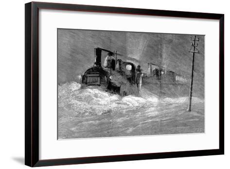 Snow Blizzard Blocking the North Eastern Train--Framed Art Print