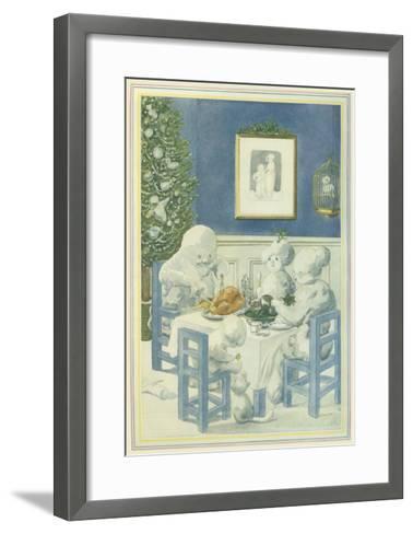 Snow Family Christmas Dinner--Framed Art Print