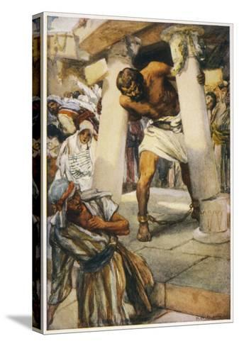Samson Pulls Down the Pillars of the Temple--Stretched Canvas Print