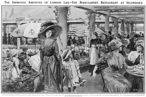 Selfridges' Roof Garden Restaurant, London, 1910--Stretched Canvas Print