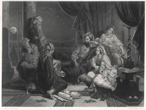 Scribes Read the Chronicles to Ahasuerus, King of Persia, as Mentioned in the Bible--Stretched Canvas Print