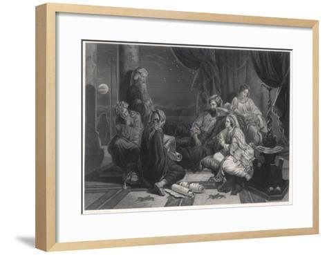 Scribes Read the Chronicles to Ahasuerus, King of Persia, as Mentioned in the Bible--Framed Art Print